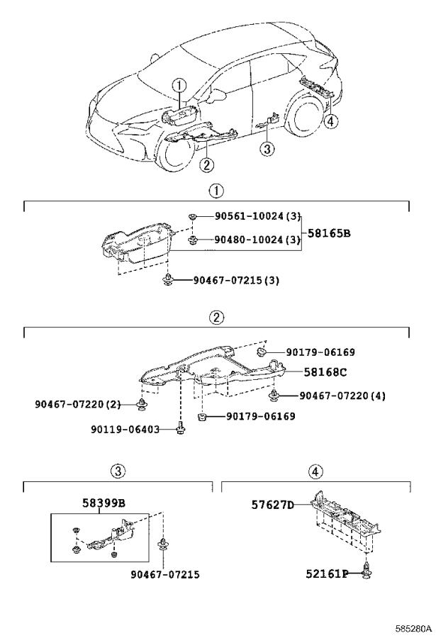 Diagram FLOOR PAN & LOWER BACK PANEL for your Lexus NX 200t